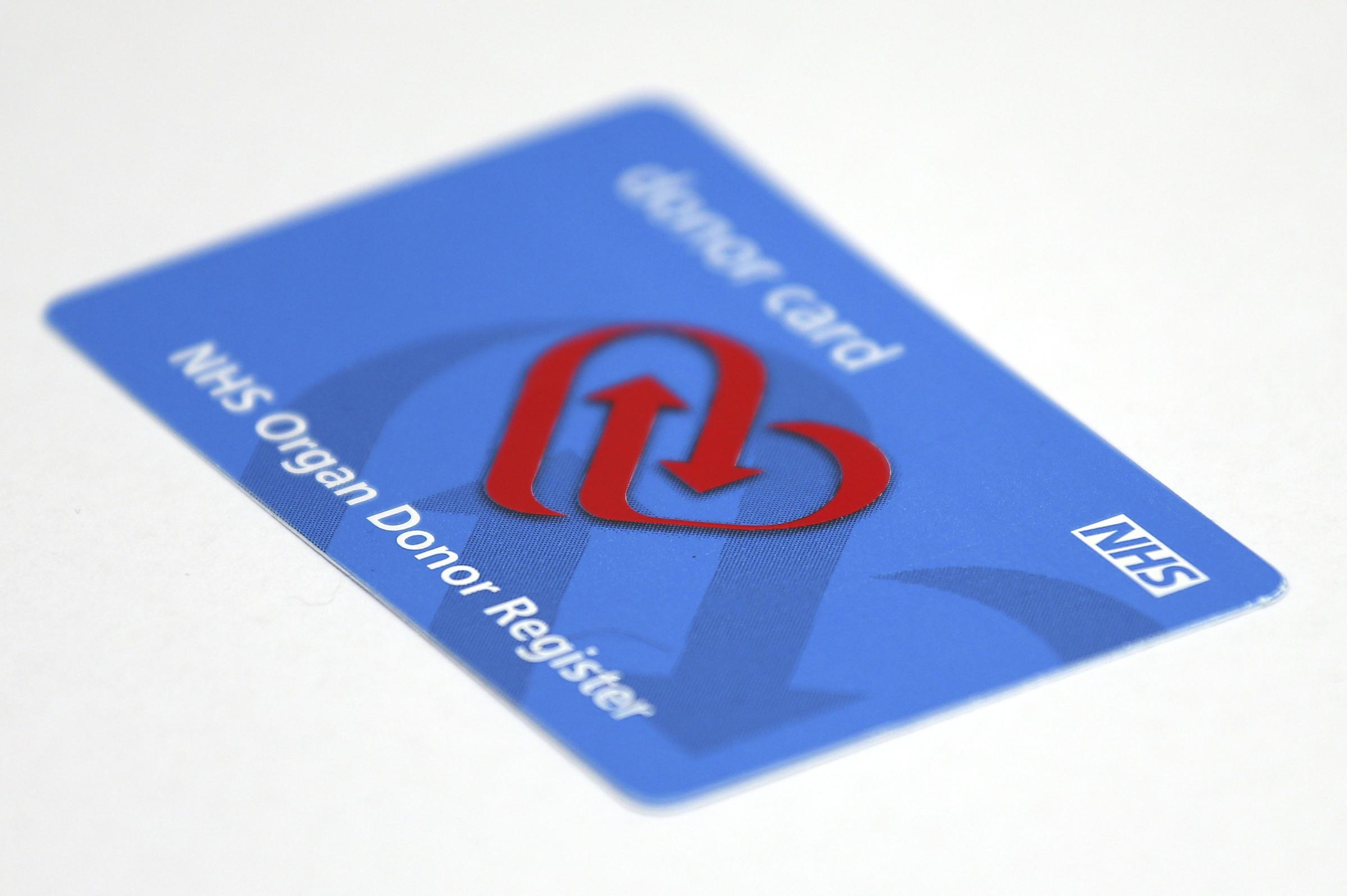 NHS Organ Donation Register card